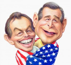 caricatures-of-tony-blair-and-george-bush